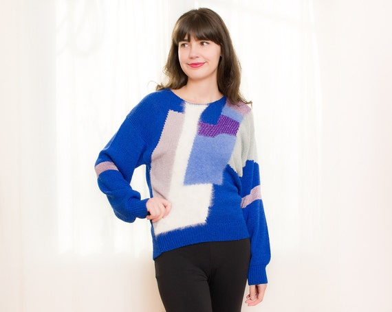 1980s Geometric Sweater - Vintage 80s Slouchy Cobalt Blue Sweater with Angora - M
