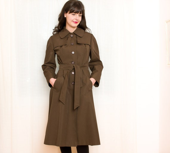 Reserved - 1960s Trench Coat - Vintage Field Drab Dark Brown Trenchcoat - M