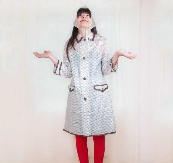 Vintage Vinyl Raincoat Polka Dot Womens Raincoat With