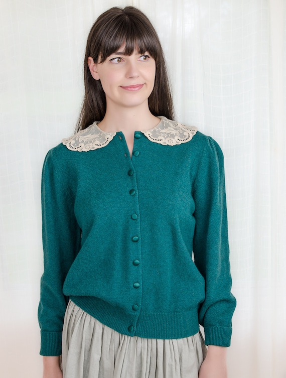 Vintage 1980s Cardigan Sweater - 80s Wool Green Sweater Cardigan with Lace Collar - L