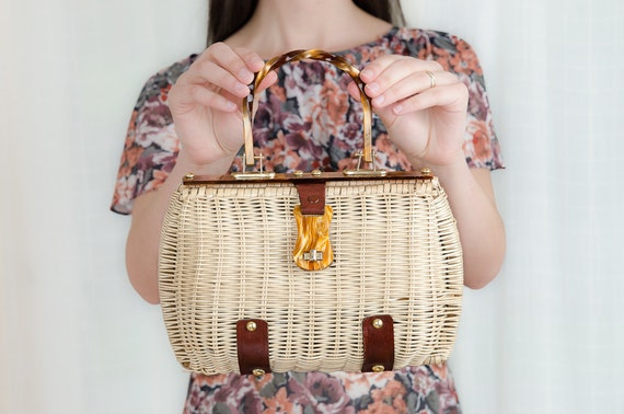 Vintage 1960s Basket Purse - 60s Wicker and Leather Handbag with Lucite Handle
