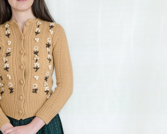 Vintage Knit Sweater Cardigan - Caramel Brown Wool Cardigan Sweater with Embroidered Flowers - XS