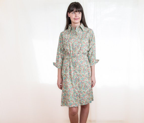 Vintage Floral Dress - 1970s Spring Wool and Cotton Shirt Dress - XL
