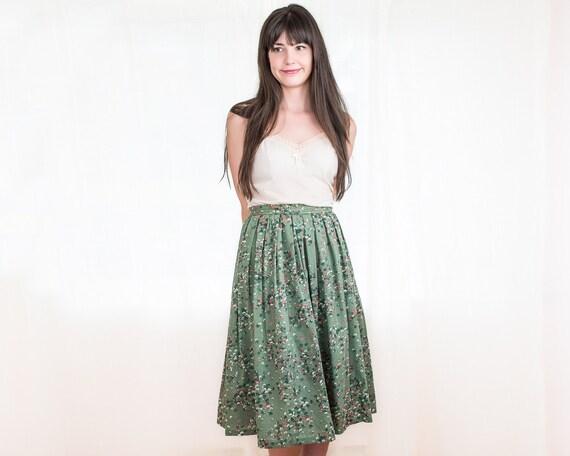 Vintage Floral Skirt - Womens Green Full Skirt - Lightweight Wool Skirt - S