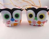 2 owl bookends owl doorstops  paperweight by bellamina