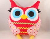 Handmade owl stuffed animal  pillow  plush b e l l a m i n a' s owl pillow Christmas gift
