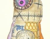 Fabric Monster Doll  Mookie Vintage Retro Fabrics