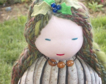 Art Doll - Goddess Doll- Birch Spirit Doll -Goddess Of Trees - Dendritus- Waldorf- Fabric Doll