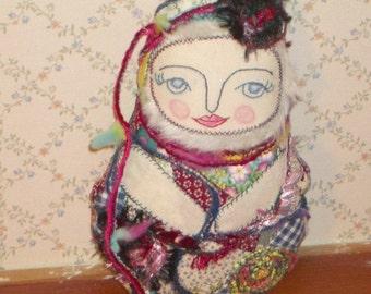 Matryoska- Babushka  Textile Art Doll  Embroidery and Crazy Patchwork