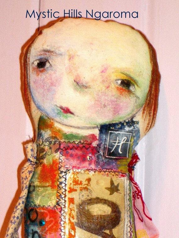 """Mixed media  Art Doll """"Ponder"""""""