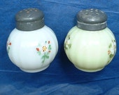 Vintage round hand painted glass salt and pepper shakers