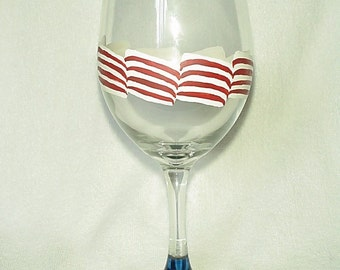 Americana Red White and Blue Painted Glass, wine glass