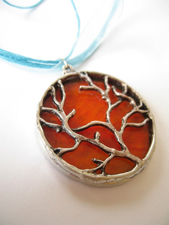 Stained Glass Pendant - Orange with Tree