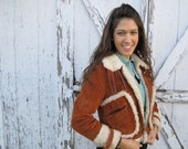 SALE Brown Shearling Leather Bomber Jacket