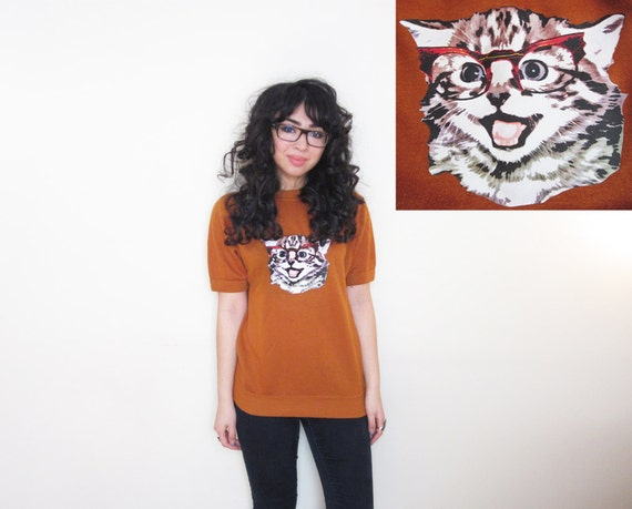 Cat in Vintage Glasses Upcycled Mustard Yellow Original Art Graphic Sweater Tee XS S M