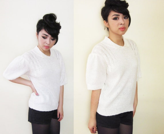 Vintage Preppy White Knit Puff Sleeve Sweater S M