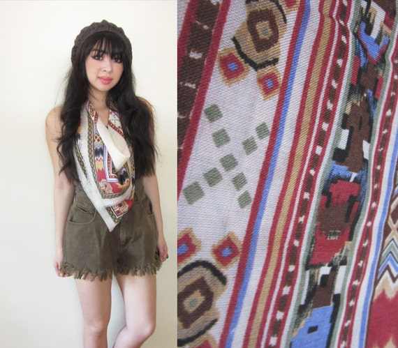1970s Southwestern Aztec Tribal Square Scarf Neutral Earth Tones Large
