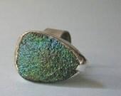 blue green titanium treated druzy adjustable ring
