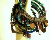 Bangle Bracelets, Urban Bohemian Gypsy inspired, stack of 12