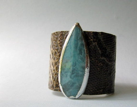 brown snakeskin embossed leather cuff with jade