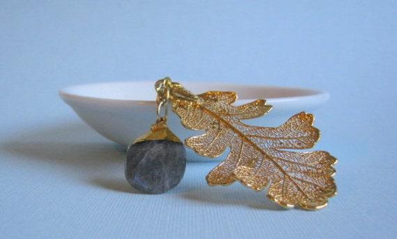 24kt gold real leaf and labradorite necklace