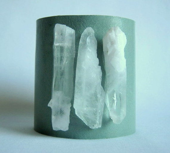 mint green leather cuff with trio of crystal quartz- size 1