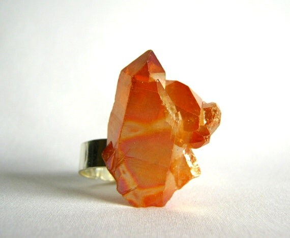 Ring - heat treated quartz crystal geode adjustable ring