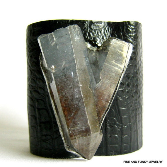 leather cuff bracelet -black crocodile embossed leather with quartz crystal points -  size 1
