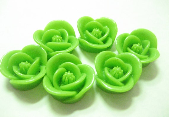 New Item 6 pieces Green  Blooming Flower Cabochon