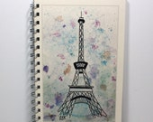 Large Journal Spiral Notebook Travel Diary - Eiffel Tower - Original Watercolor Art - Large Journal 8.5 x 5.5 Inches - Ivory