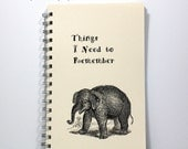 Large Journal Diary Spiral Notebook Sketch Book - Baby Elephant - Vintage Art - Large Journal 8.5 x 5.5 Inches - Ivory