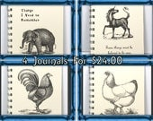 Journal Diary Spiral Notebook Sketch Book - Set of 4 Bestseller Vintage Art Journals - Unicorn & Baby Elephant Assortment - Ivory