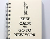 Travel Journal Diary Notebook Sketch Book - Statue of Liberty - Keep Calm and Go To New York - Small Notebook 5.5 x 4.25 Inches - Ivory