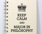 Philosophy Journal Notebook Diary Sketch Book - Keep Calm and Major in Philosophy - Small Notebook 5.5 x 4.25 Inches - Ivory