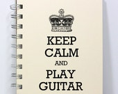 Music Journal Notebook Diary Sketch Book - Keep Calm & Play Guitar - Small Notebook 5.5 x 4.25 Inches - Ivory