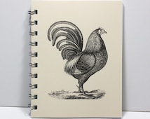 Rooster Spiral Notebook Journal Diary Blank Cookbook - Vintage Art - Small Notebook 5.5 x 4.25 Inches - Ivory