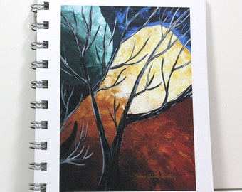 Full Moon Journal Diary Spiral Notebook Sketch Book - Original Art - Small Notebook 5.5 x 4.25 Inches