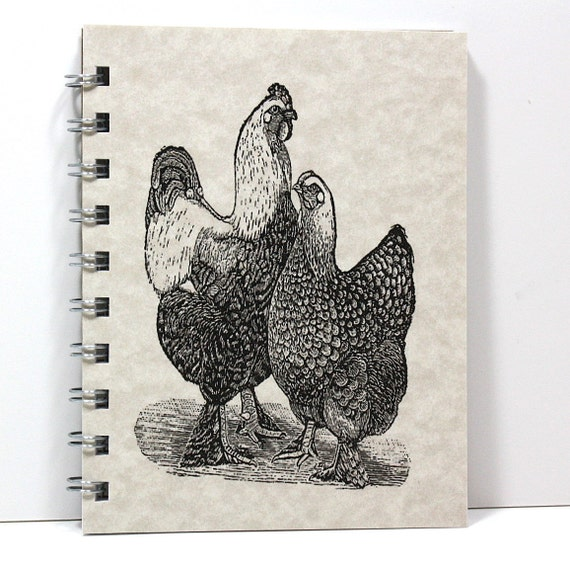Happy Chickens Spiral Notebook Journal Diary Handmade - Vintage Art - Small Notebook 5.5 x 4.25 Inches - Light Tan Parchment