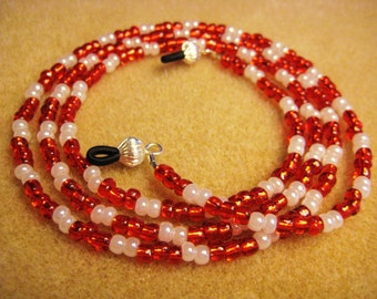 Lanyard Eyeglass Handmade Candy Cane Red and pearl white beads with silver eye glass holder