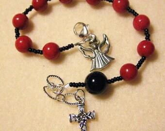 Rosary Bracelet Handmade Red Mountain Jade Black Onyx Cross Angel