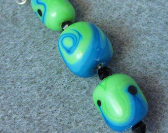 Lampwork Beads Artisan Handmade Bright Green, Blue and Black