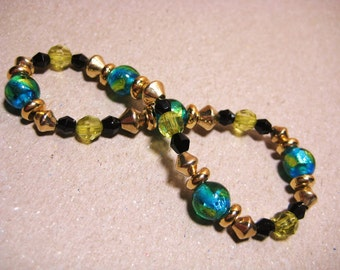 Blue Green Handmade Bracelet Foiled Beads with Black crystals, gold beads