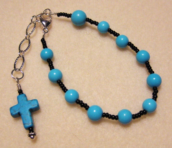 Rosary Bracelet Handmade  made with Turquoise, Black seed beads and Sterling Silver