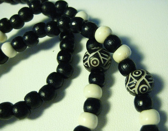 Eyeglass Lanyard Handmade  Black and white with wood bone and carved beads