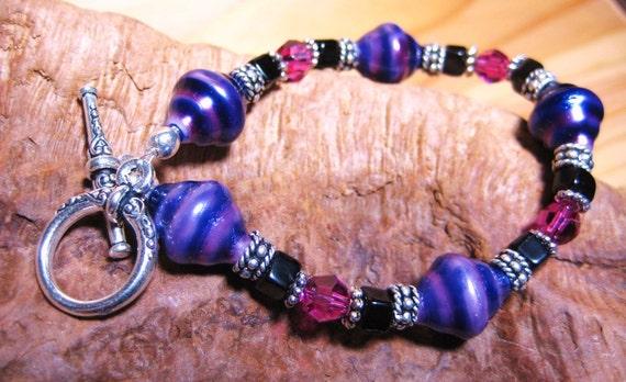 Purple Bracelet Handmade Black and Fushia Crystals