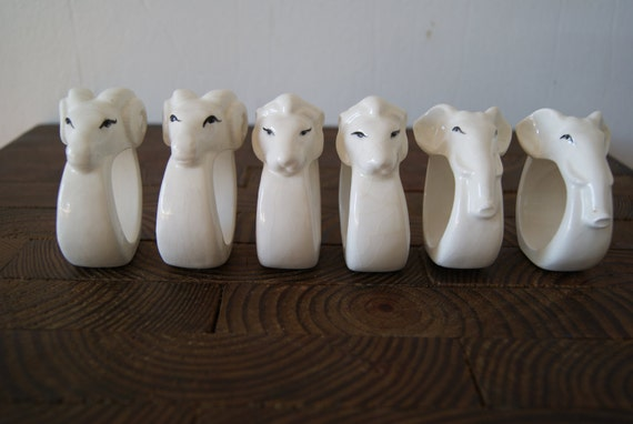 SALE- Set of 6 Vintage White Ceramic Animal Napkin Rings