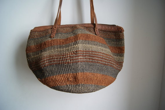Vintage 1980s Sisal Striped Earth Tone Women's Tote Bag with Embossed Leather