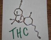THC Molecule Pendant - Sterling Silver