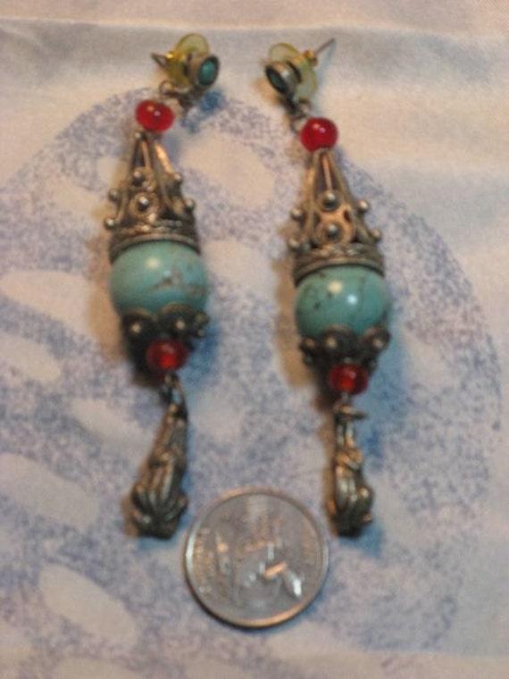 1970s Dangling Turquoise Earrings (E-1-5)