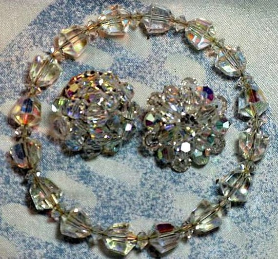 REDUCED - Crystal Bangle Bracelet and Earrings (BR-1-3)